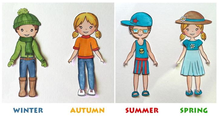 Seasons Paper dolls from The Sandbox Girls